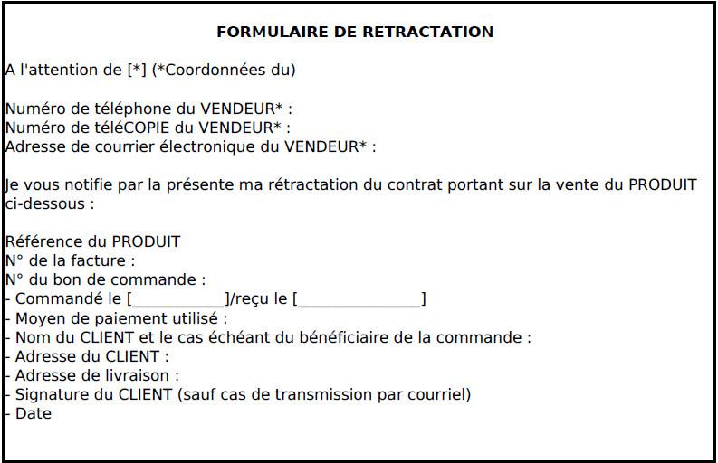 formulaire rétractation